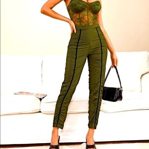 SHEIN Tape Detail Ruched Stacked Pants